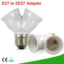 1 unids materiales a prueba de fuego E27 a 2 E27 portalámparas convertidor de la toma de conversión de luz tipo de Base de lámpara 2E27 Y forma adaptador del divisor(China (Mainland))