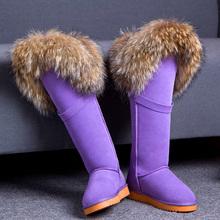 2017 invierno Rodillas Era delgado Cuero Genuino de Largo tubo de nieve botas de piel de Zorro impermeables Calientes antideslizantes zapatos planos de las mujeres Libres gratis(China (Mainland))