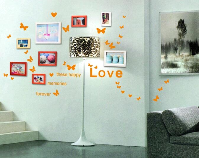 Free shipping Colorful Love heart butterfly warm and sweet bedroom wall sticker bathroom living room Home decorations