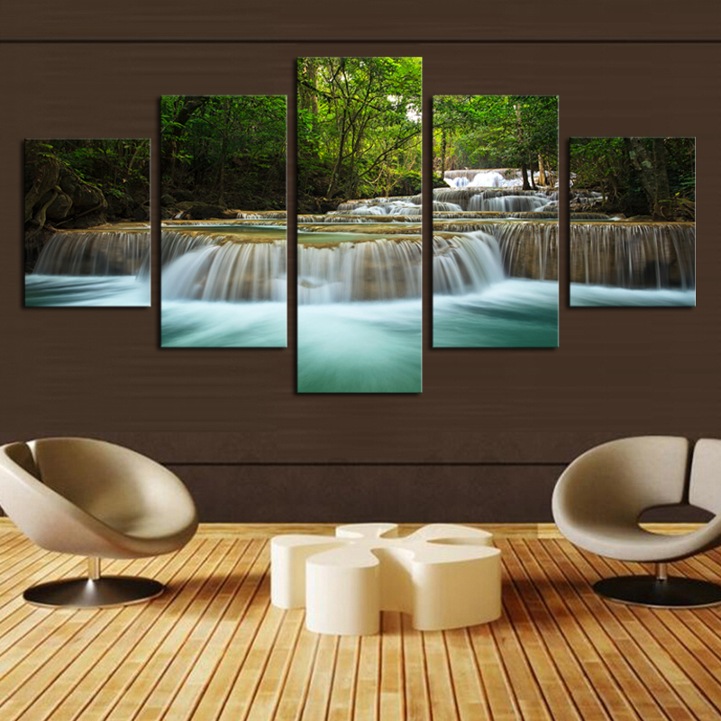 5 panel waterfall painting canvas wall art picture home. Black Bedroom Furniture Sets. Home Design Ideas