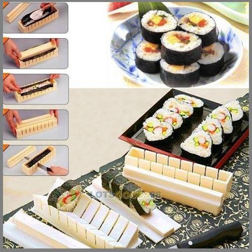 LS4G 2014 New Cooking Tools DIY Sushi Maker Rice Mold Kitchen Sushi Making Tool Set Pack of 11(China (Mainland))