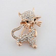 Moda mini smiley gatto spilla cravatta regalo squisita spilla di cristallo pieno charms gatto spille da sposa per le donne libera il trasporto(China (Mainland))