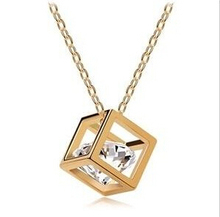 Promotion 2014 Fashion Top Quality 18K Rose Gold Plated Magic Cube 0.75MM Zircon Pendant Charm Necklace For Lady XY-N279(China (Mainland))