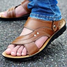 Nueva llegada 2016 hombres del verano sandalias de los hombres zapatos de cuero genuino sandalias de punta abierta zapatillas de moda de cuero de vaca ocasional zapatos de playa(China (Mainland))