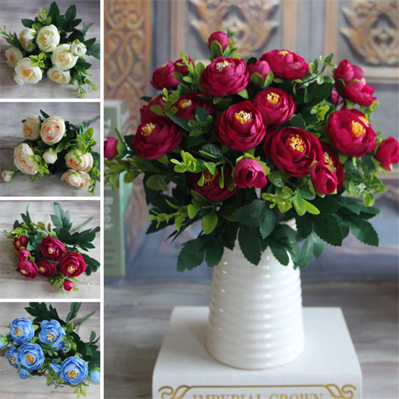 Artificial Fake Peony Flower Arrangement Home Table Room Wedding