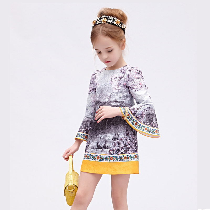 High Quality Baby Girl Dress Designer Brand Kids Dresses for Girls American Princess Flare Sleeve Girl Dresses Costumes Clothes<br><br>Aliexpress