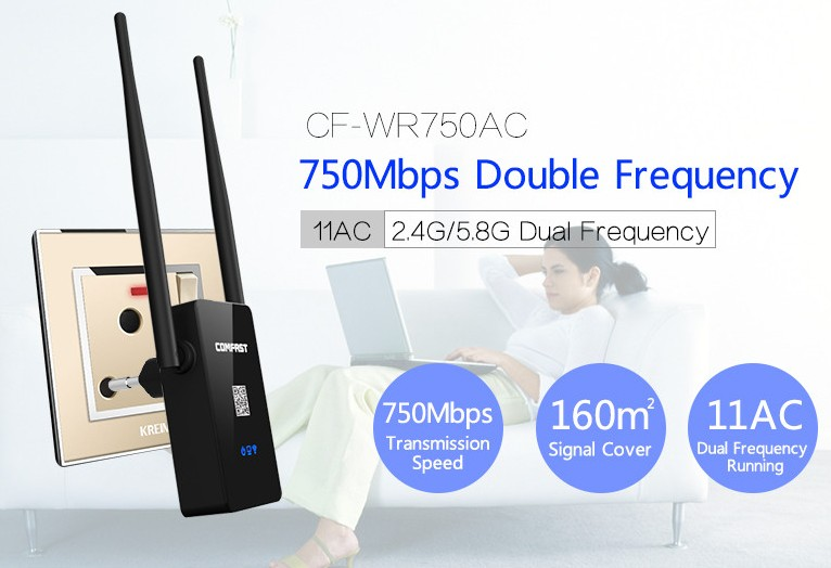 Comfast Dual Band 750Mbps Wifi Repeater Roteador 802.11AC Wireless Router 2.4GHz +5GHz CF-WR750 AC Wi fi Signa Extend Amplifier(China (Mainland))