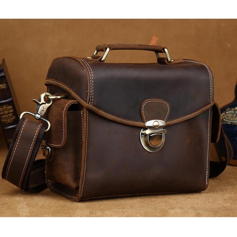 TIDING Crazy Horse Leather Camera Bag Vintage Style Crossbody Bag For DSLR Lens Tote Shoulder Bag 1124(China (Mainland))