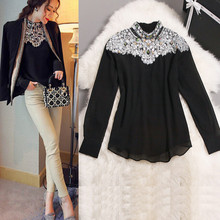 2017 New Fashion Promotions trendy cozy fashion women clothes casual Blouse Diamond Beaded lace Shirt Slim shirt for women tops(China (Mainland))