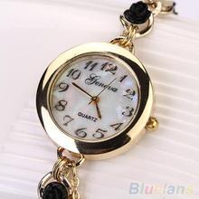 Mujeres de ginebra de lujo Faux flor de la perla pulsera de cuarzo reloj de pulsera analógico vestido 289A