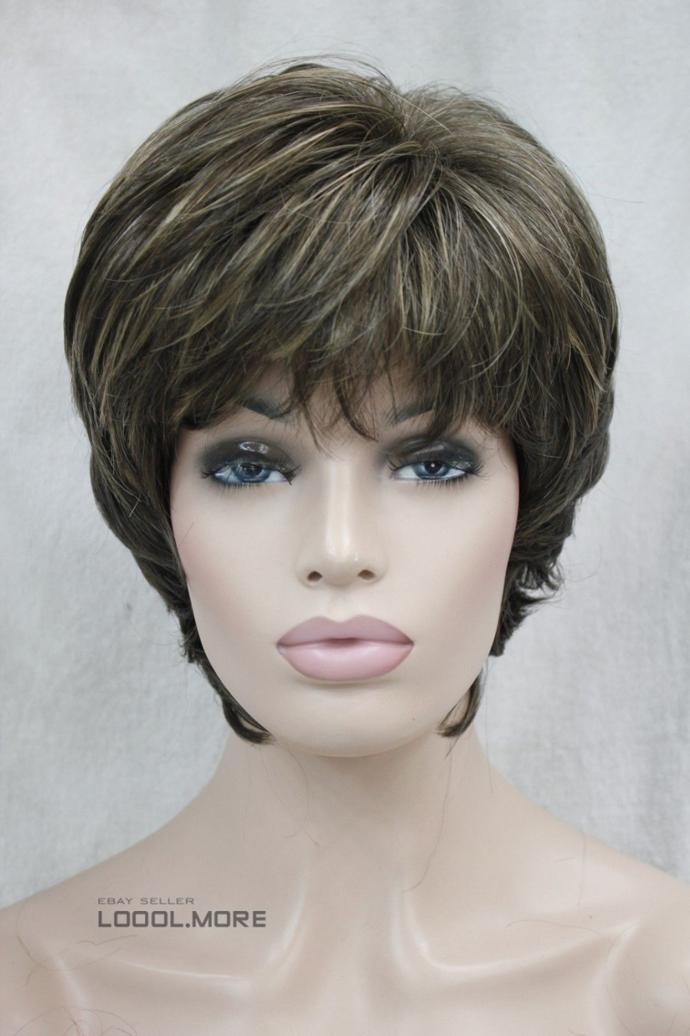 RH2773 fast shipping Natural Medium Brown Blonde Mixed Short Women Synthetic Wig<br><br>Aliexpress