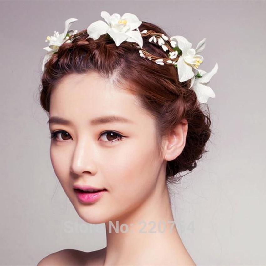 2016 Summer Wedding girls Flower Crown Head Band Women butterfly Headband with adjust Bridal Headpiece Girls Floral Wreath(China (Mainland))