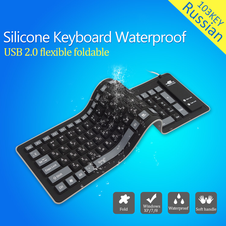 Newest Improved 103keys Russian keyboard letters Wire USB Interface silicon teclado layout keyboards teclado PC Desktop Laptop(China (Mainland))