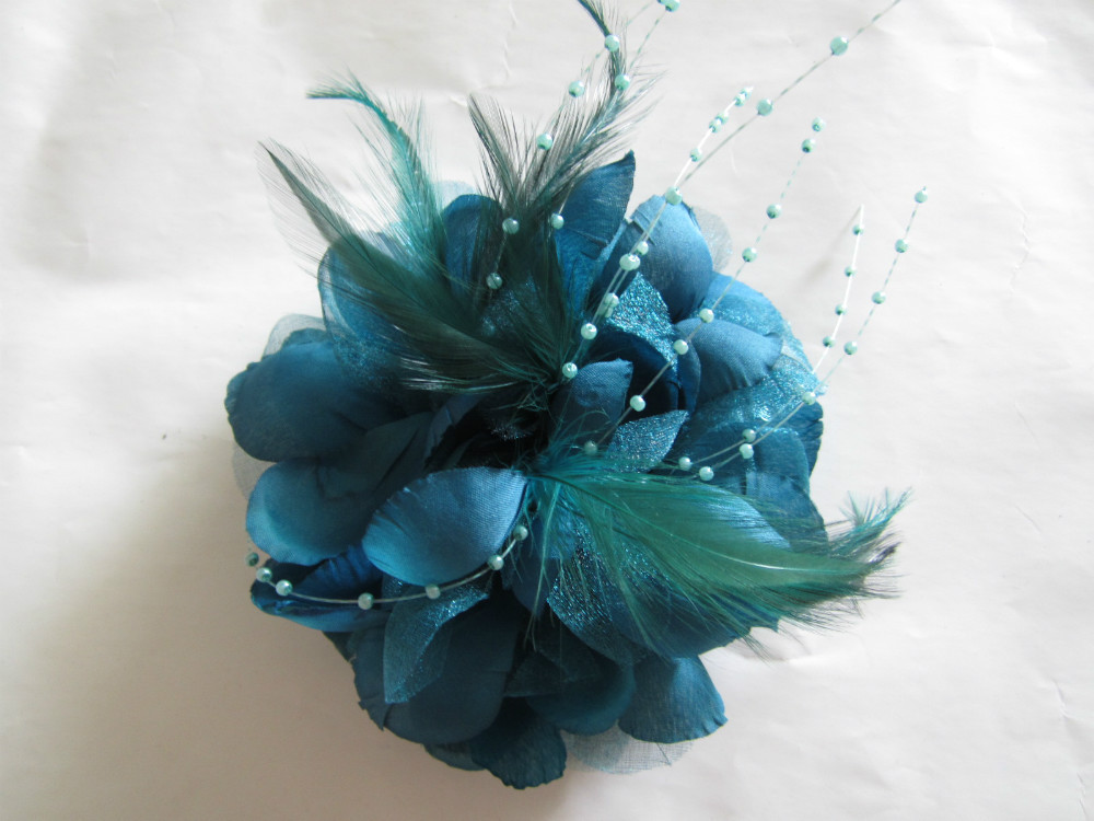 Dark Teal Blue Wedding Party Feather Hair Fascinator Clip Women Corsage Brooch Pin Headwear Hairpin Fascinators, Free Shipping!!(China (Mainland))