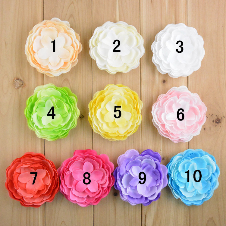 9cm Hand-stitched simulation rose Multilayer peony flower corsage Children hair accessories girl Clothing&Accessories 20pcs/lot(China (Mainland))
