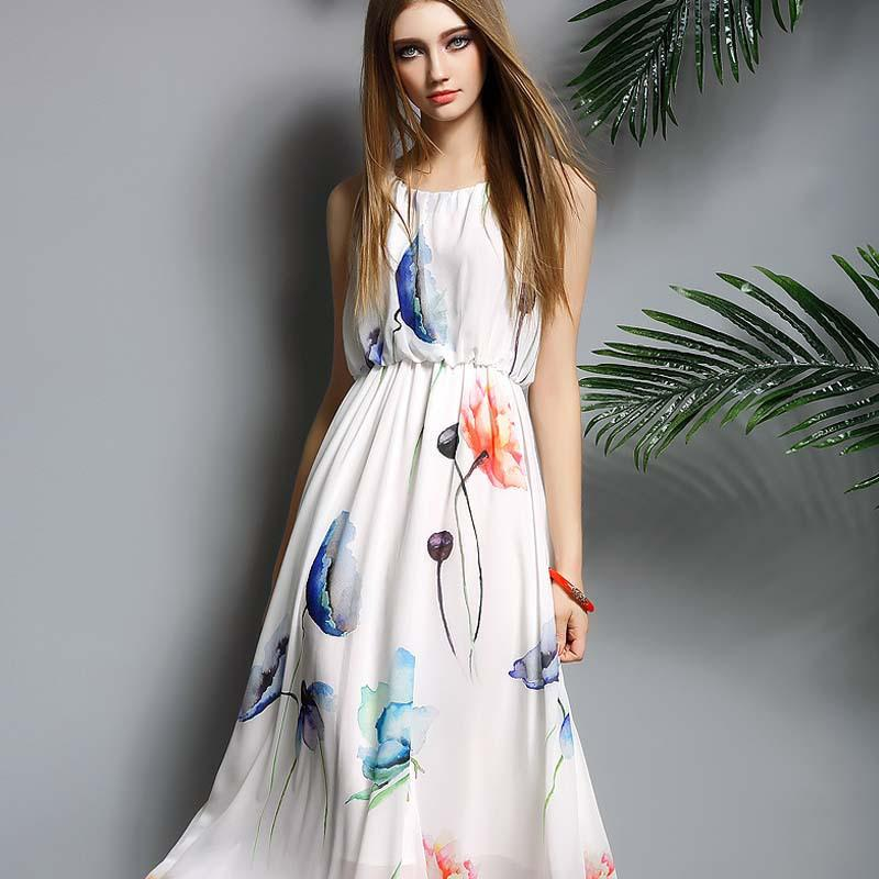 women summer dress chiffon O neck sleeveless print midi beach dresses 2016 new style hot sale fashion clothes vestidos de festa(China (Mainland))