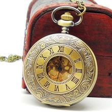 Unique Bronze Jewelry Watches Steampunk Quartz Necklace Pendant Chain Pocket Watch 1PC 7kERD 24D0 2Yku