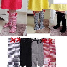 New Fashion Cute Kids Girls Princess Bowknot Knee High Socks for 1 8Years Child