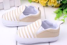 3-12M Kids Baby Boys Girls Stripes Anti-Slip Sneakers Soft Bottom Shoes First Walkers(China (Mainland))
