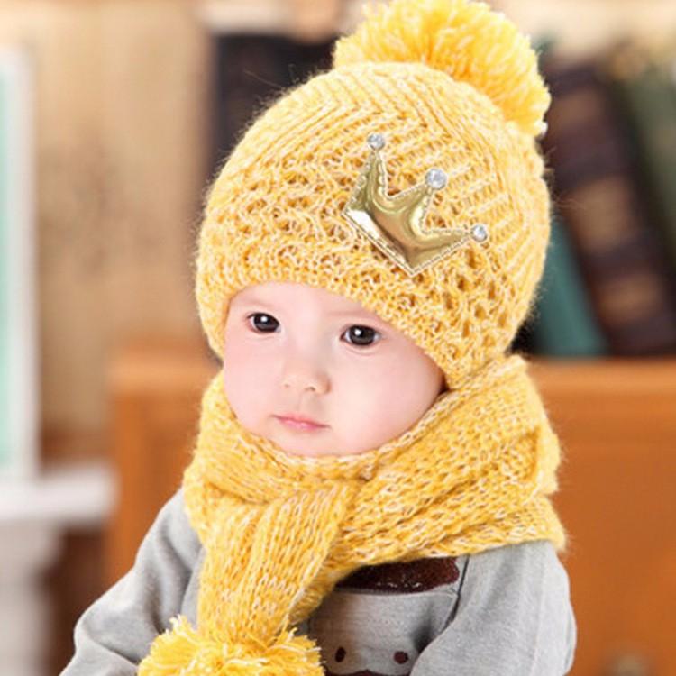 2016 Rhinestone Crown Baby Girls Knit Hats Scarfs Sets Winter Kids Knitted Beanie Crochet Caps Baby Toddler Warm Hat + Scarf