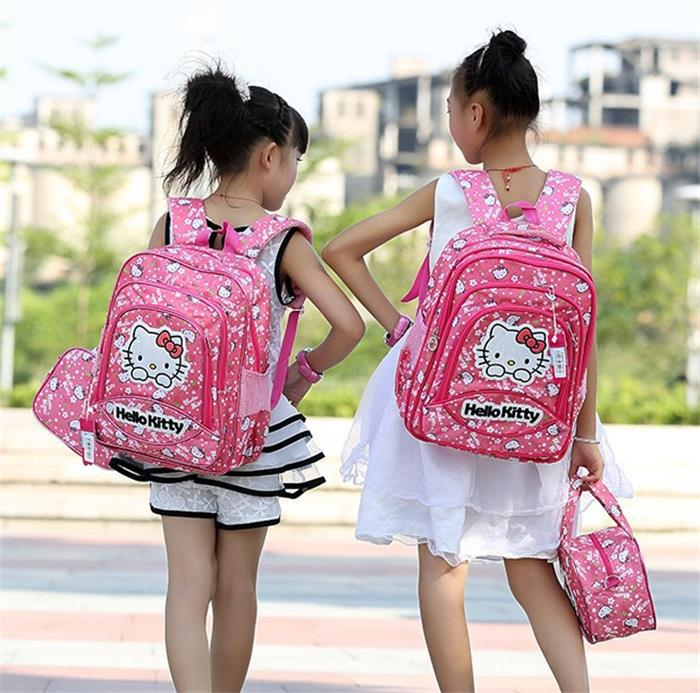 School Bags children students hello kitty Backpacks from age 6-14 girls lovely school bag wholesale(China (Mainland))