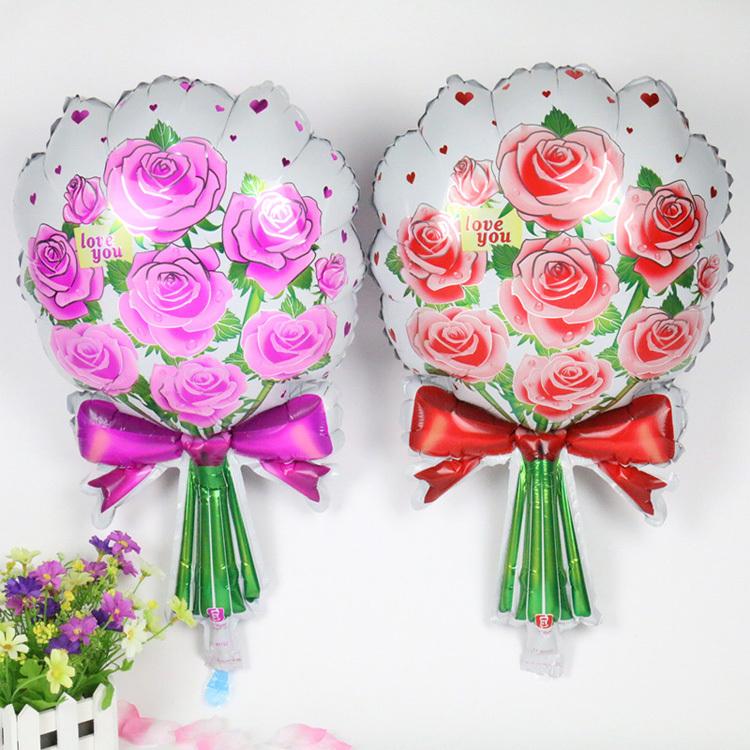 41*64cm rose flower aluminum balloons birthday wedding party balloons decorated balloons(China (Mainland))