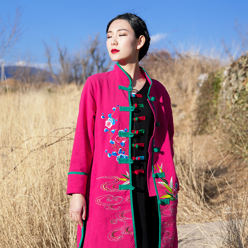 BOHOCHIC Original Vintage Ethnic Bohemian Chinese Embroidery Cotton Linen Loose Women Spring Trench Coat AZ0426C Boho ChicОдежда и ак�е��уары<br><br><br>Aliexpress