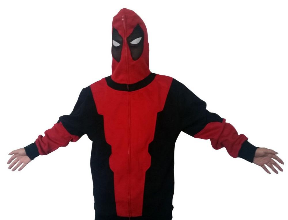 Deadpool X Men Marvel Wade Wilson Hoodie Jacket Coat Sweatshirt With Zipper Long Sleeve Cosplay Costume(China (Mainland))