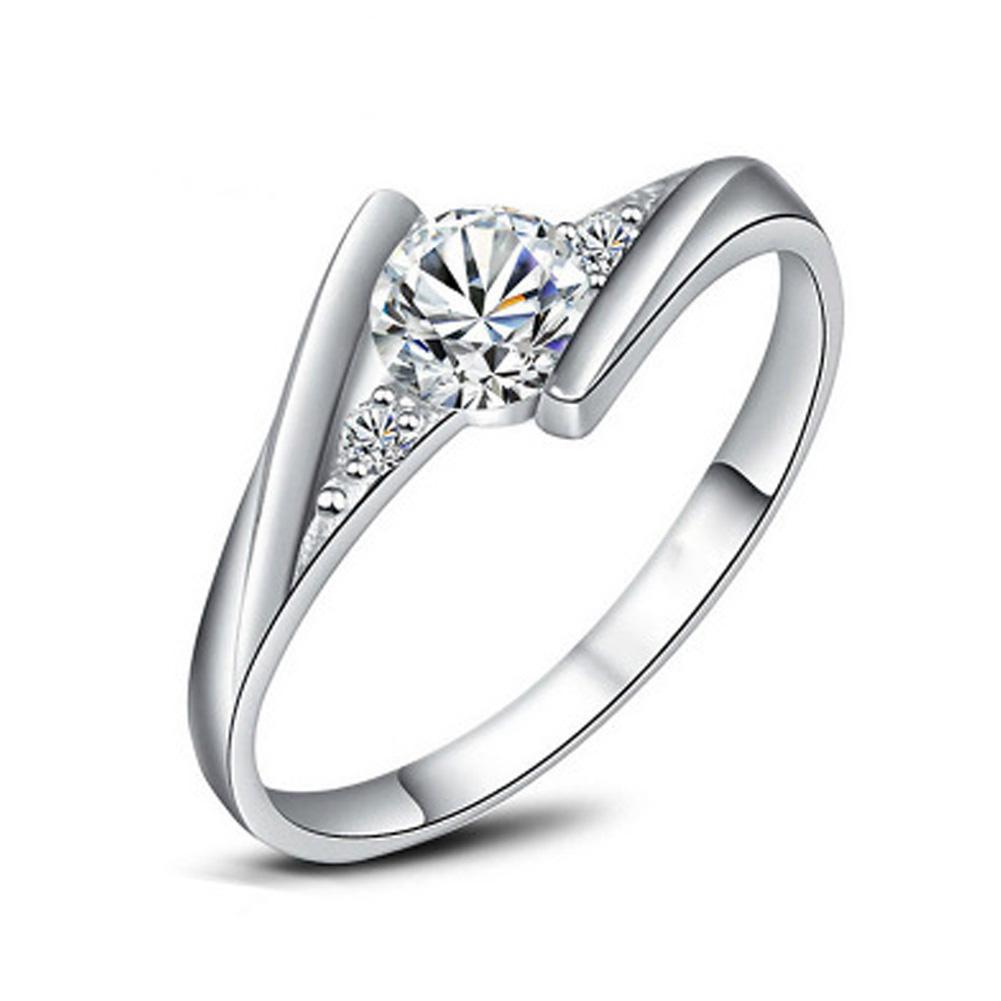 Crystal Fashion Silver Plated CZ rhinestone Jewelry Wedding Rings Rose Gold Plated Charming Jewelry Women Bijoux J045