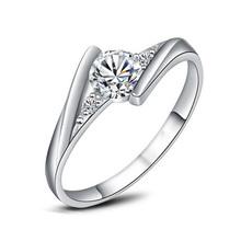 Crystal Fashion Silver Plated CZ rhinestone Jewelry Wedding Rings Rose Gold Plated Charming Jewelry Women Bijoux J045(China (Mainland))