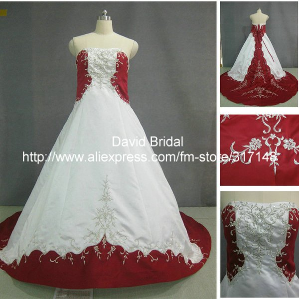 Real pictures w044 a line satin princess big train for Big red wedding dresses
