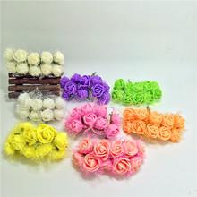 10pcs/lot 2cm Valentine Gift MIni Artificial Silk Lace Foam Rose Flower Bouquet artificial flowers for wedding car decoration(China (Mainland))