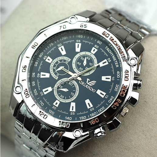 stylish sport watch men stainless steel business quartz analog wristwatch - Gifts Watches store