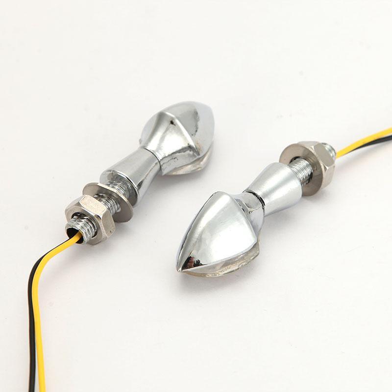 2x Chrome Aluminum Motorcycle COB LED Turn Signals Light Mini Spear Indicator Lamp 2-wire Connection Cruiser For Honda Yamaha(China (Mainland))