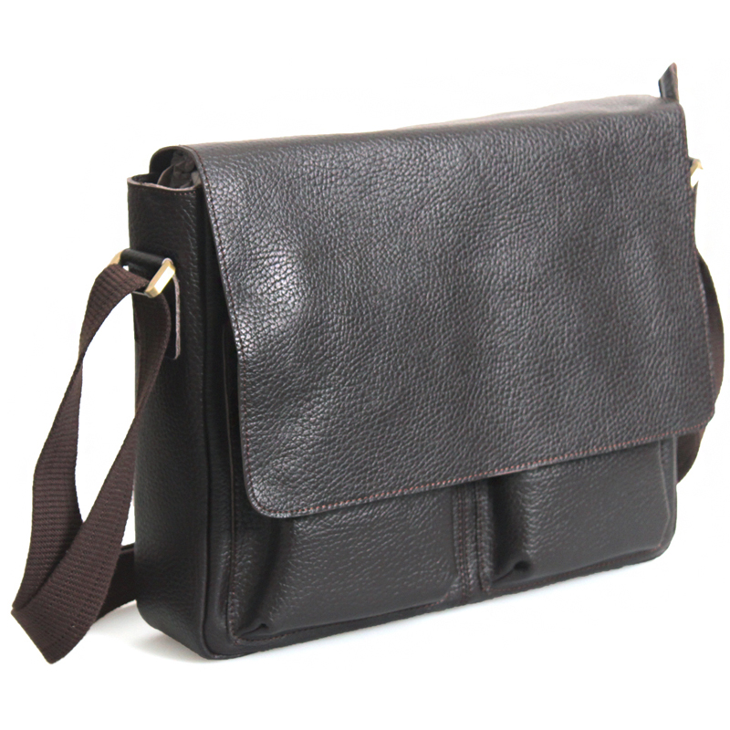 TIDING Men Cowhide Leather Briefcases Shoulder Messenger Bags Brown NEW 8737(China (Mainland))
