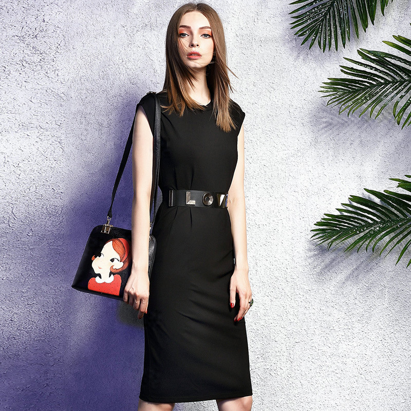 100% Cotton Women Fashion Casual Black Letter Sleeveless Knee Length Midi T shirt Dress 2015 Robe Femme Spring Summer Style Одежда и ак�е��уары<br><br><br>Aliexpress