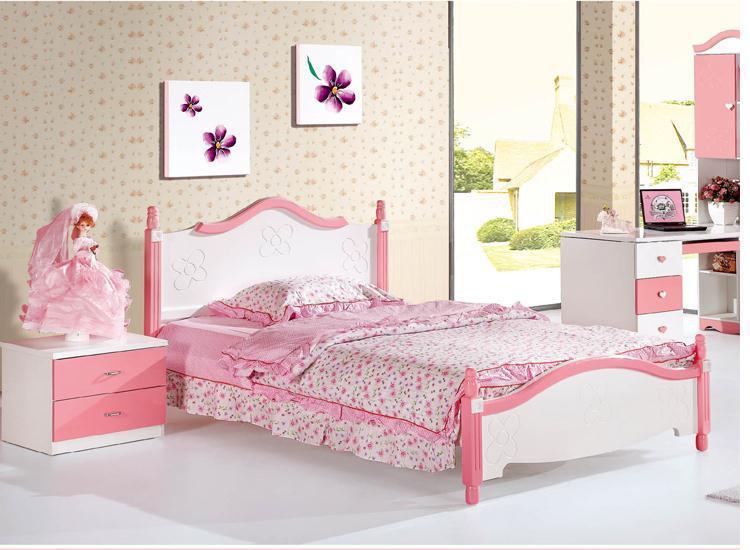 플레이트 어린이 침대 1.5 메터 예쁜 핑크 공주 침대 침실 가구 ...