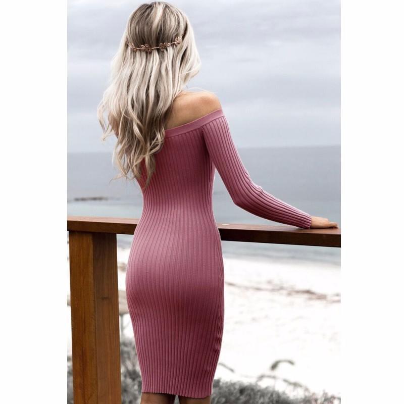 3สีใหม่ร้อนแฟชั่น2016ปิดไหล่ชุดผู้หญิงซี่โครงถักเสื้อกันหนาวเดรสยาวแขนหุ่นฟิตbodyconสง่างาม27623 ถูก
