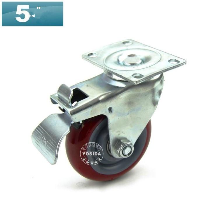 "Heavy valve 5"" Muted Polyurethane Cabinet Double Bearing Caster Wheel With Brake(China (Mainland))"