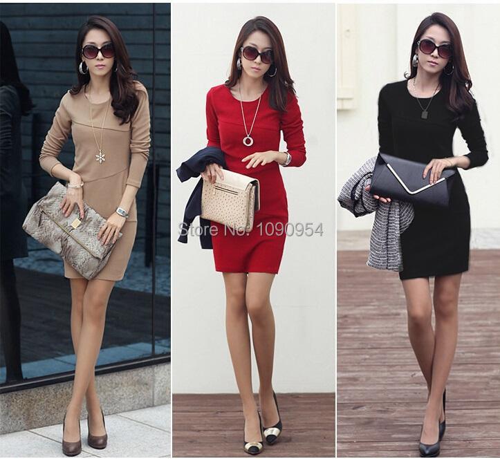 Free shipping new OL women dress Lady autumn Long Sleeve Slim Fit Casual dresses cotton winter Mini Dress plus size S-3XL(China (Mainland))