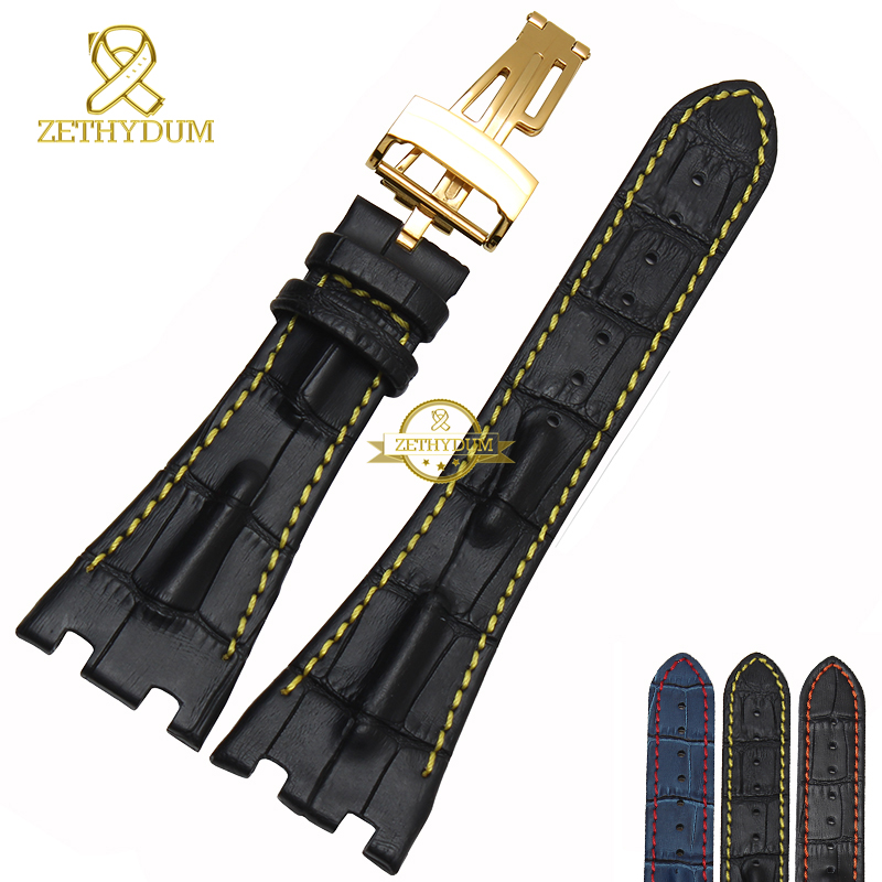 Genuine Watchband mens leather bracelet Sports watch strap Black Blue red stitched 28mm handmade wristwatches band fold buckle(China (Mainland))
