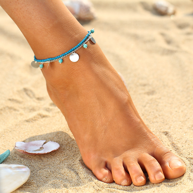Summer Anklet with Turquoise Beads