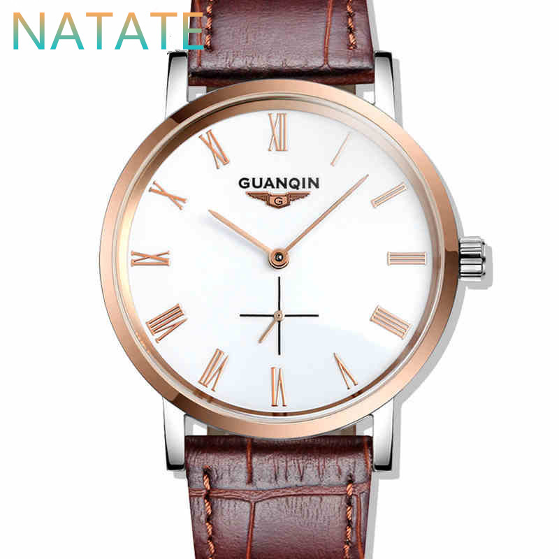 NATATE Switzerland Watches Men Luxury Brand Wristwatches GUANQIN Automatic self wind genuine leather strap Waterproof Watch 6140<br><br>Aliexpress