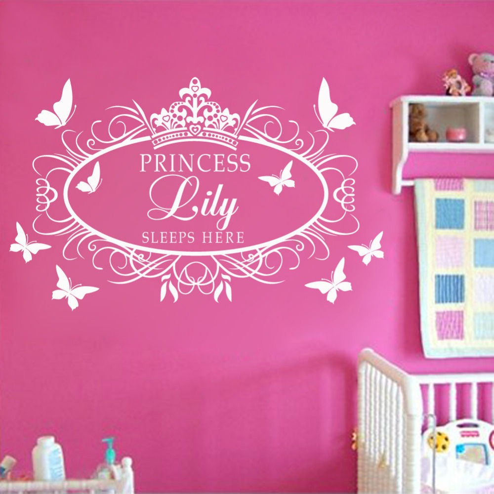 custom personalised name princess crown wall art sticker kid decal nursery decor in wall. Black Bedroom Furniture Sets. Home Design Ideas