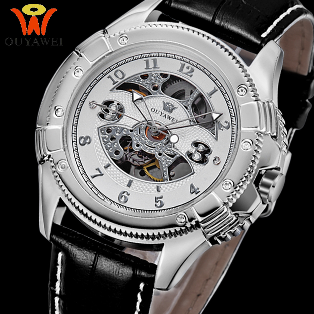 Top! OYW Brand Black Leather Strap Watches Analog Display Stainless Steel Case Clock Automatic Fashion Watch Relogio Masculino(China (Mainland))