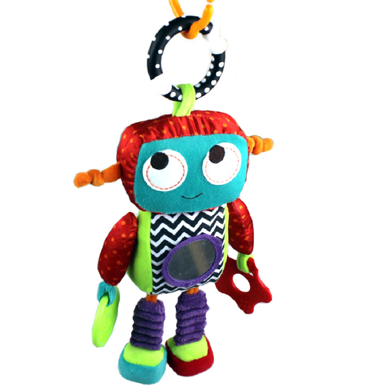 32cm Baby Soft Plush Toy Crib Bed Stroller Hanging Robot Cute Android Teether Rattle Ring Bell