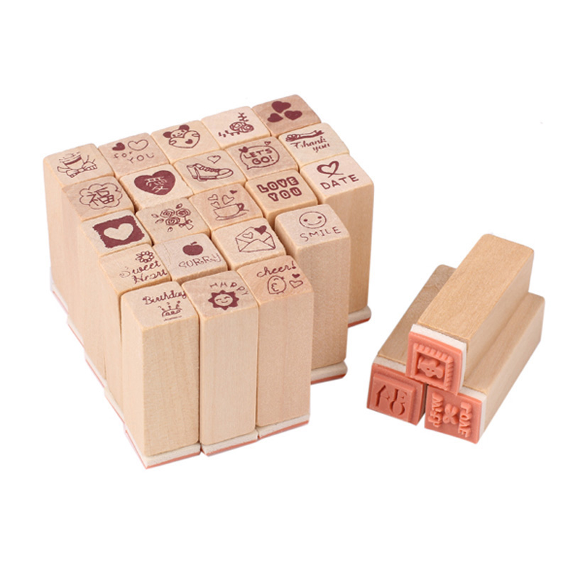 V1NF 25pcs/box Love Diary Rubber Wooden Stamp Set DIY with Wooden Box Free Shipping(China (Mainland))