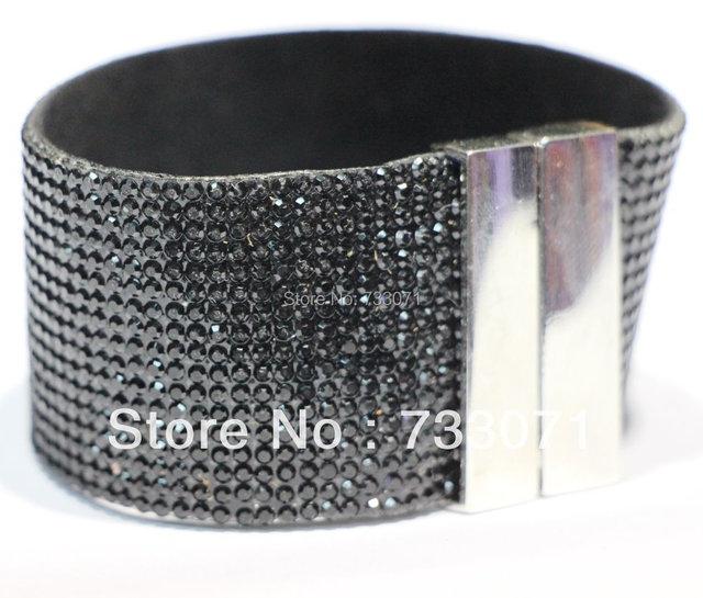 10pcs enjoy a 10% discount,Hotsale bracelet, hand row, Wrap Bracelets,Fashion Black Rhinestone bracelet with magnetic buckle