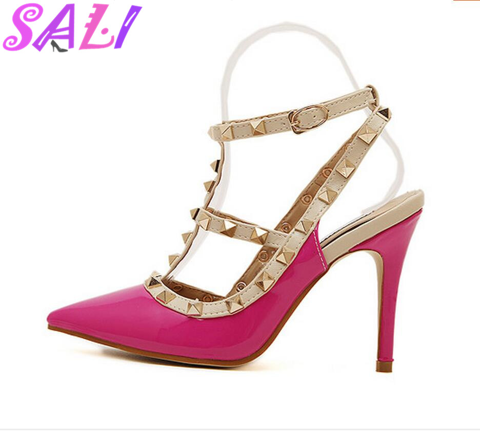 2016 summer 4 color candy color sexy women high heels rivets you strap sandals club shoes anti-wolf(China (Mainland))