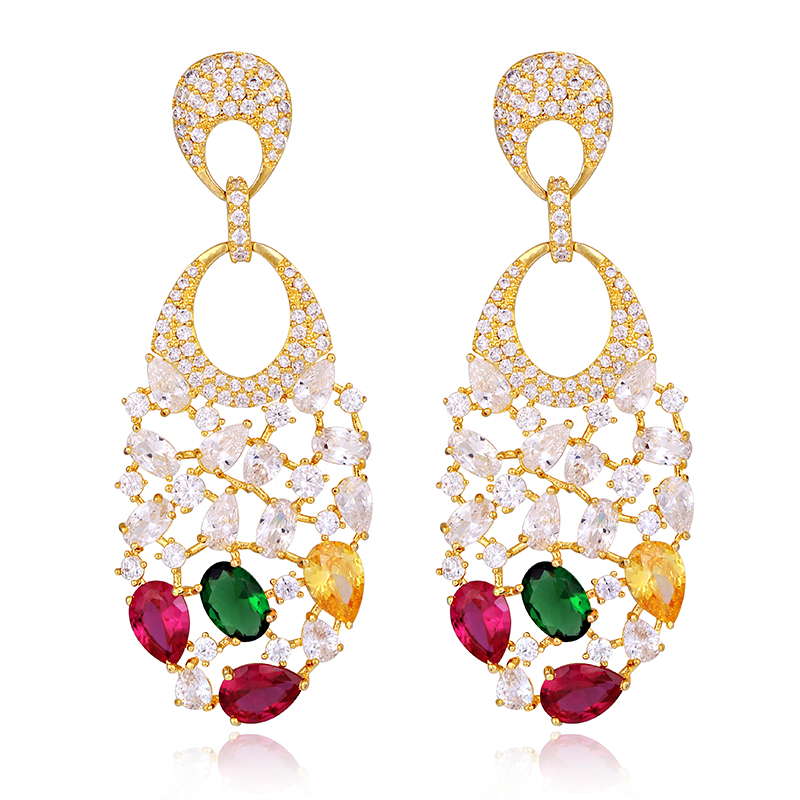 Latest Fashion Gold Earrings Women Iced Out Vine Twist Teardrop Oval Shaped Dangle Clip on Earrings(China (Mainland))